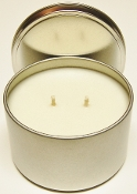 16oz Scented Soy Wax Tin Candles. These are made with 100% cotton wicks and 100% Pure Soy Wax. The 8oz Tin Candles have a burn time of 50 hours. These Soy Tins have excellent scent throw.